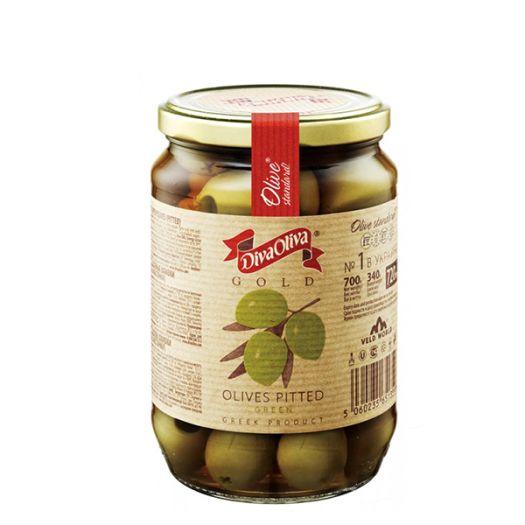 Оливки Diva Oliva Gold зеленые без косточки 720мл - FreshMart