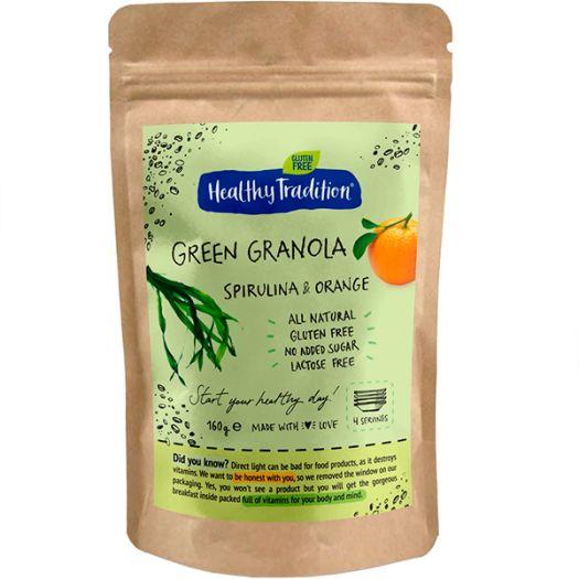 Гранола спирулина и апельсин Healthy Tradition Green Granola 160г - FreshMart